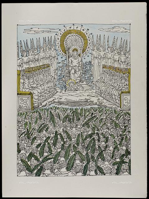 11 Serie dell'Apocalisse il Trono di Dio e la Corte Celeste, tav. XI, litografia a colori, De Chirico Giorgio.jpg