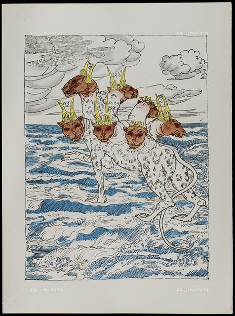13 Serie dell'Apocalisse - La Bestia del mare, tav. XIII, litografia a colori, De Chirico Giorgio.jpg