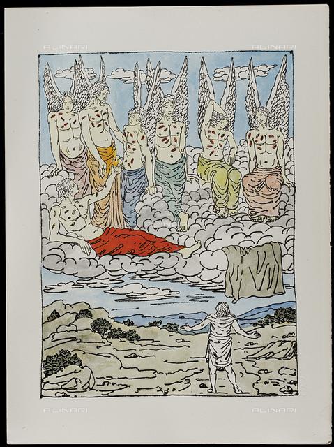 15 Serie dell'Apocalisse, tav. XV, litografia a colori, De Chirico Giorgio.jpg