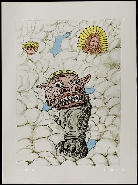 16 Serie dell'Apocalisse, tav. XVI, litografia a colori, De Chirico Giorgio.jpg