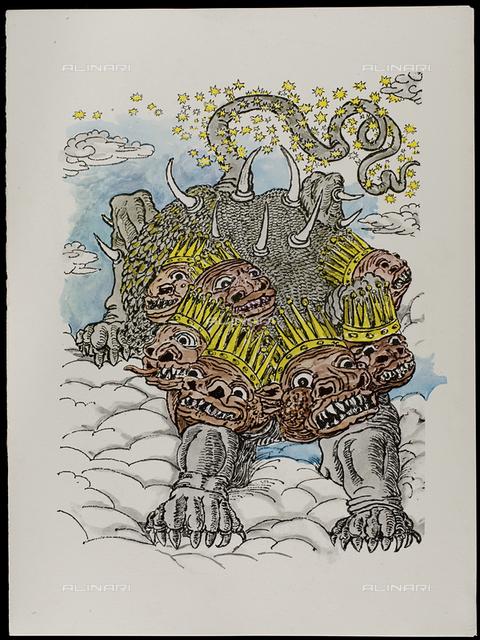 17 Serie dell'Apocalisse - il Drago dalle sette teste, tav. XVII, litografia a colori, De Chirico Giorgio.jpg