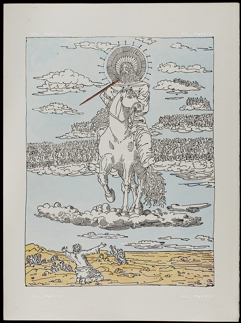 19 Serie dell'Apocalisse - Apparizione del Cristo Equestre a San Giovanni, tav. XIX, litografia a colori, De Chirico Giorgio.jpg