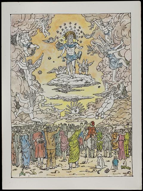 20 Serie dell'Apocalisse - il Trionfo di Dio, tav. XX, litografia a colori, De Chirico Giorgio.jpg