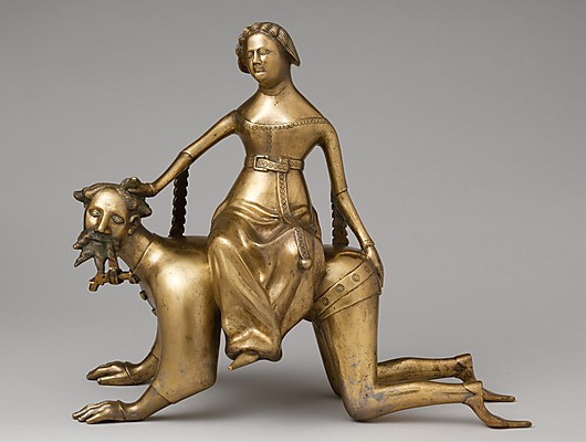 14th-century depiction of riding Aristotle