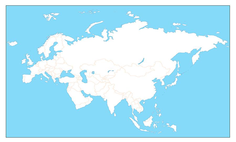 Контурная Карта Евразии Черно-Белая