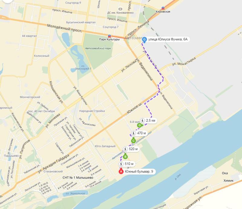 карта ходьбы
