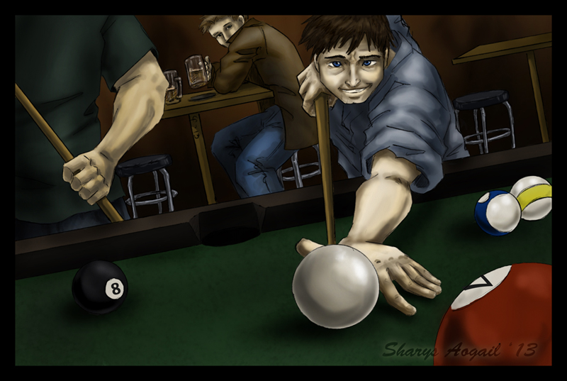 Cas leaning over a pool table, grinning, while Dean watches from the background.