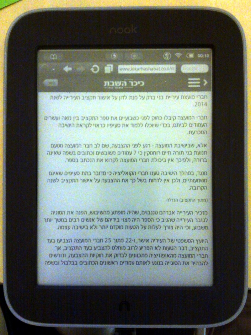 Nook Simple Touch with Hebrew fonts