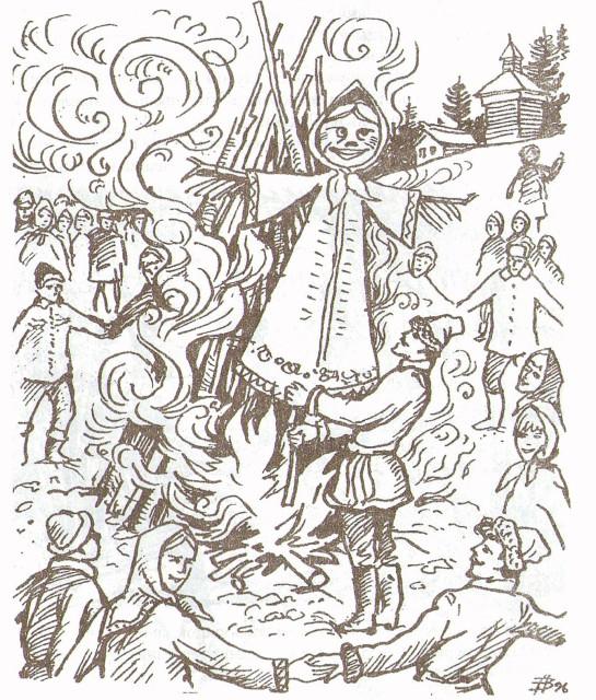Рисунок сжигания чучела на масленицу