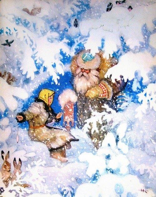 """Иллюстрация к сказке """"Морозко"""". Автор рисунка: советский иллюстратор русских народных сказок Николай Кочергин (1897–1974)."""