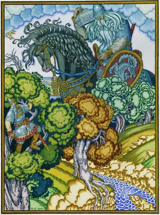 картина Ивана Яковлевича Билибина:Илья Муромец и Святогор. 1900-е гг.