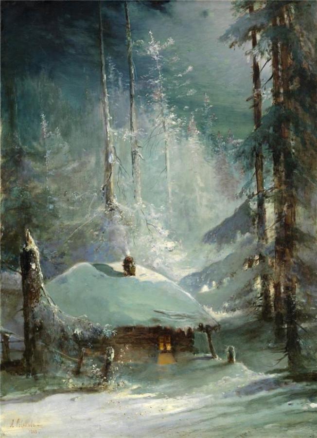 Хижина в зимнем лесу. -1888