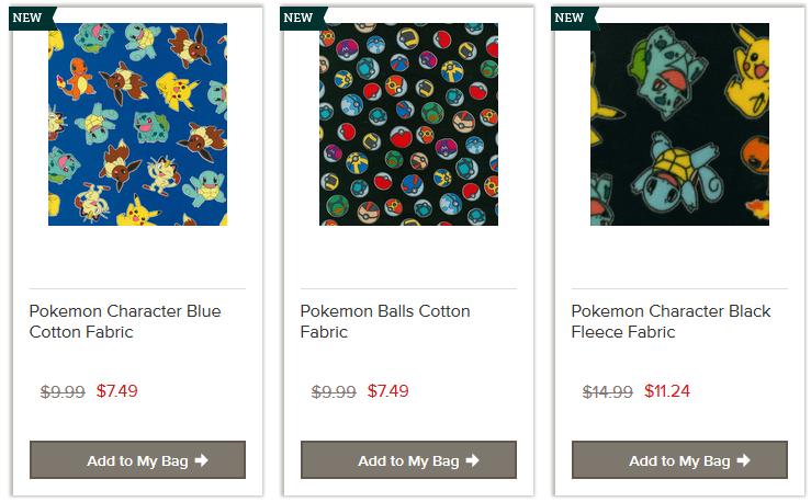 Pokemon Fabric Pkmncollectors