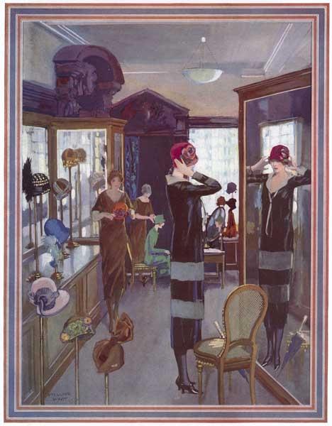 Millar Watt, Choosing hats for the Spring, 1925