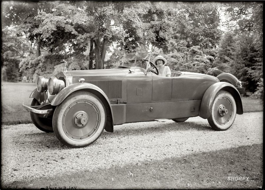 At the wheel  actress Grace Valentine, circa 1920.