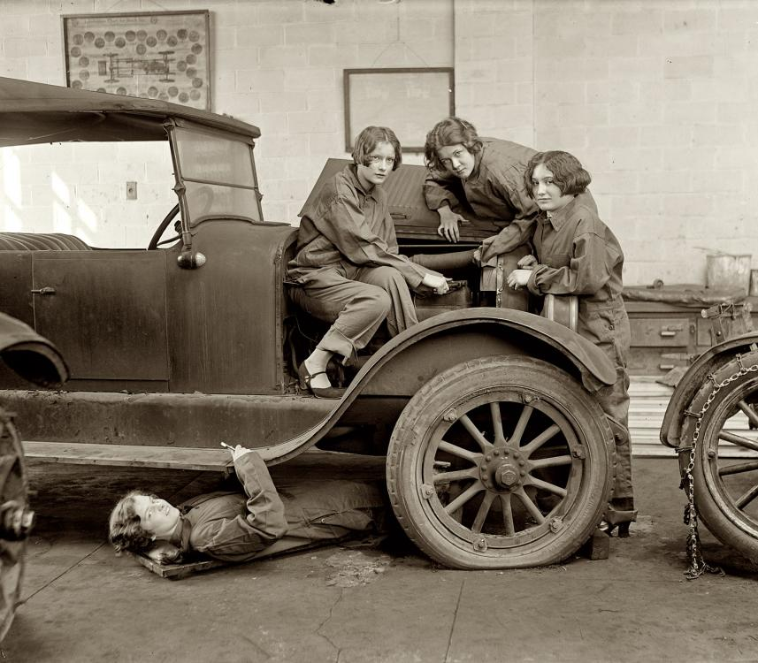 Washington, D.C. February 9, 1927. Central High School girls learn the art of automobile mechanics.