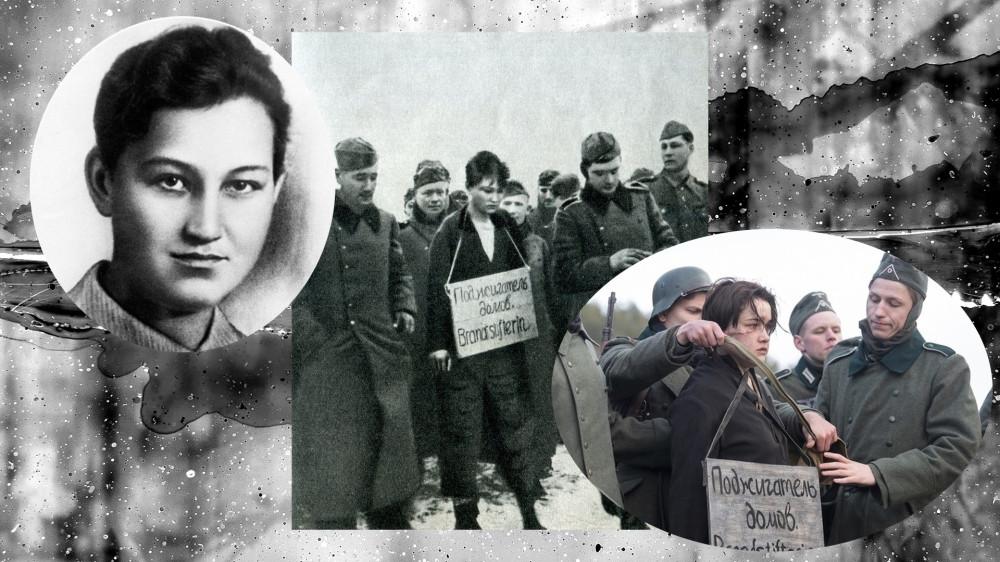 """Реальные фото Зои Космодемьянской и кадр из фильма """"Зоя"""" 2020"""