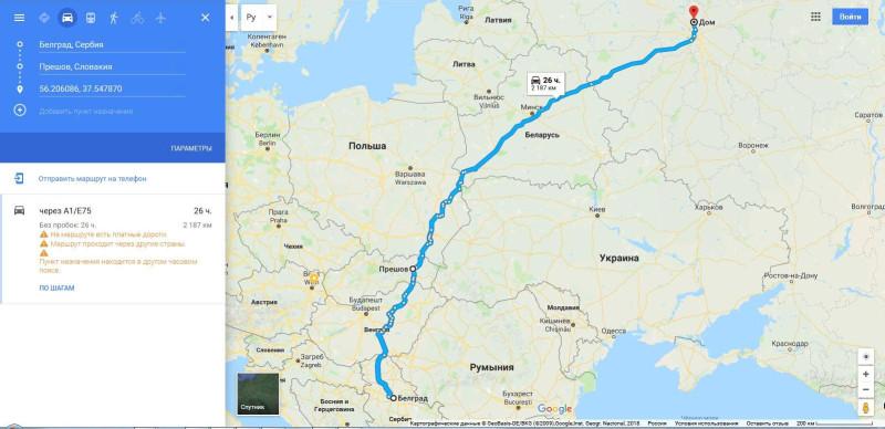 Маршрут от Белграда (Сербия) через Прешов (Словакия) и Люблин (Польша) до дома