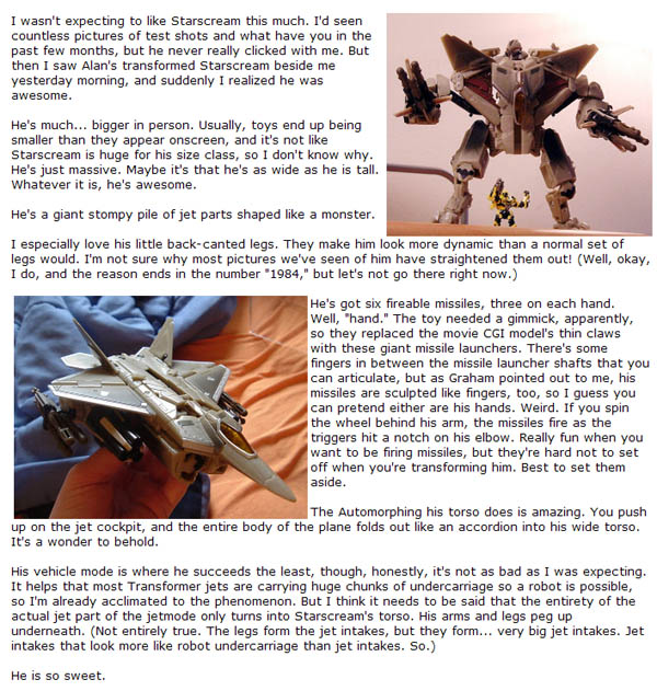 My review of Starscream saved as  a graphic