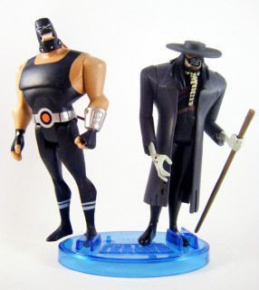Bane, Scarecrow, and a JLU figure stand.