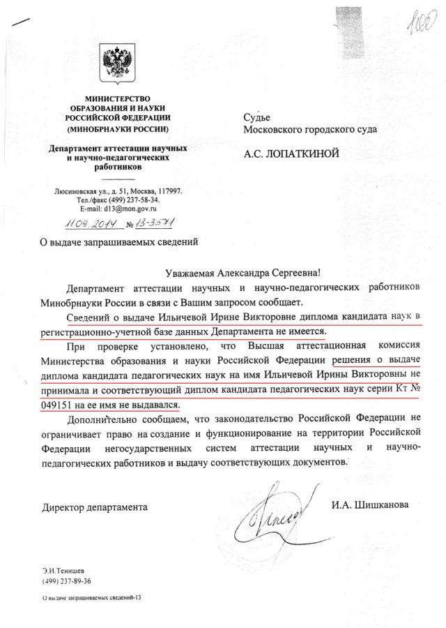 В поисках диссертации Ильичевой Штаб САО  Все вышеизложенное заставляет усомниться в действительности выданного Ирине Ильичевой диплома кандидата педагогических наук а следовательно
