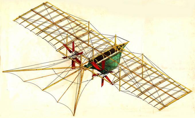 Рисунок аппарата Хенсона, без обшивки крыла.