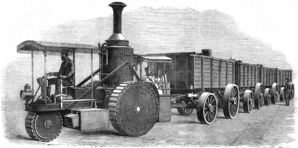 Паровой рутьер Томпсона, с угольными вагонетками.