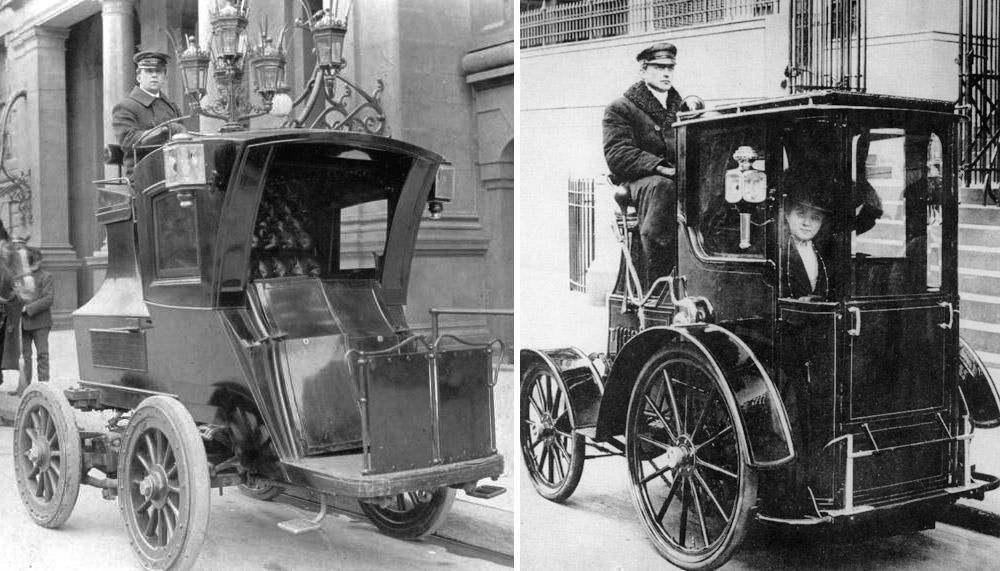 Американские электрокэбы фирмы EVC (Electric Vehicle Company) в производстве с 1897 года.