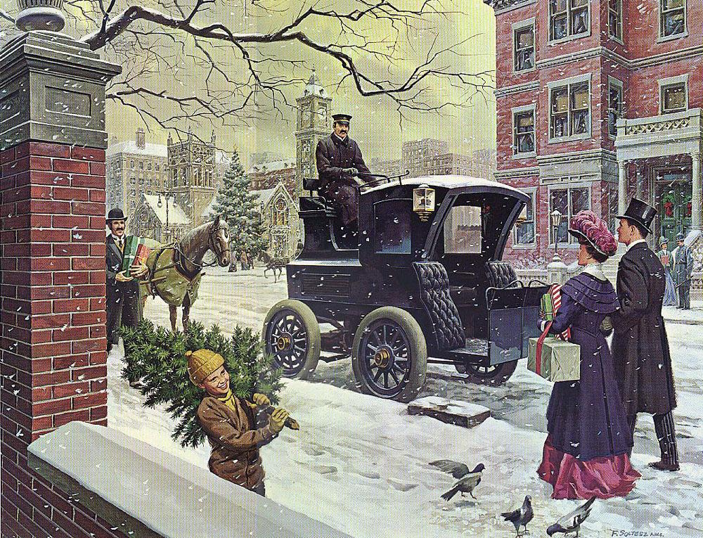 Американская, рождественская открытка, с электрокэбом. начало 20 века.