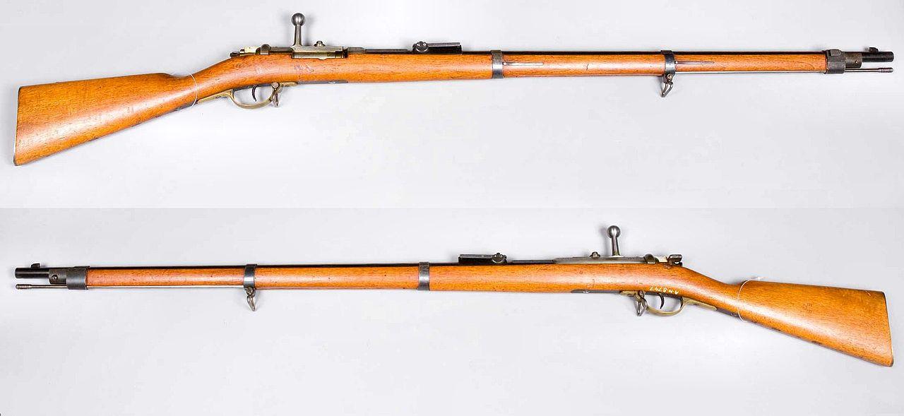 Infanterie-Gewehr 71. Первая винтовка Маузер, калибр 11 мм, металлическая гильза.