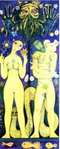 Адам и Ева и Господь Бог,1976 г.Из 4-х частей.ДСП,масло
