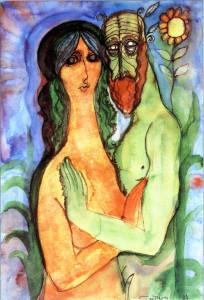 Из цикла Влюбленные,1984 г.,акварель,тушь,перо
