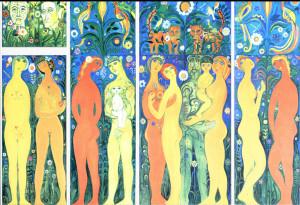 В.Сидур.Райская жизнь в коридоре.1980 г.ДСП,масло
