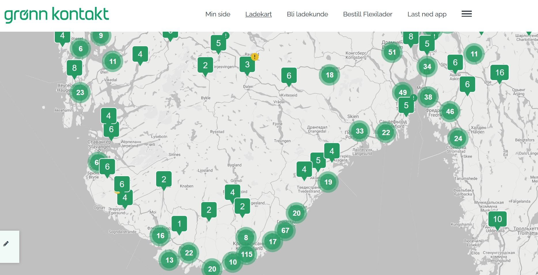 Карта станций зарядки с https://gronnkontakt.no/ladekart/