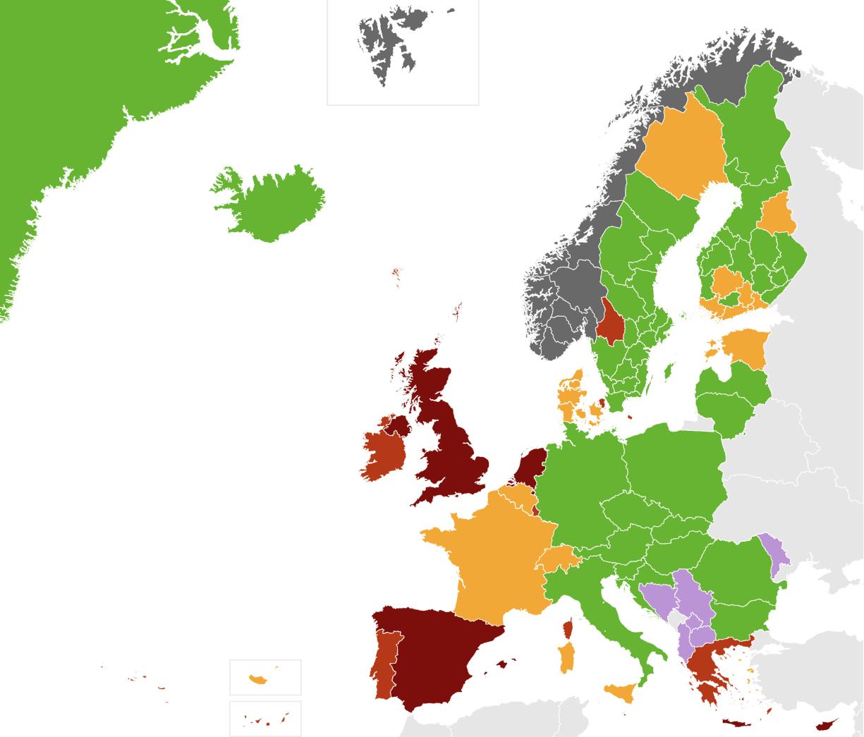 Заболеваемость ковидом в Европе на 26.07 по версии норвежцев