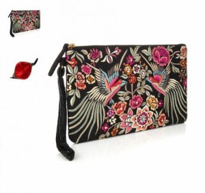 Phoenix Embroidered Clutch