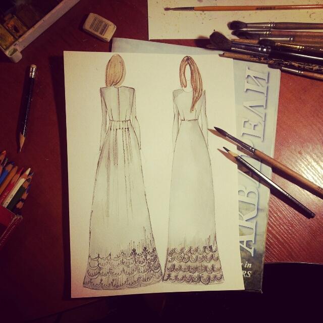 эскизы платьев на каждый день: