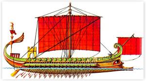 Финикийская трирема под пурпурными парусами