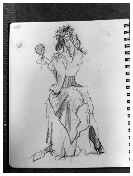 Sketch by silverAJ - costumed lady with mirror