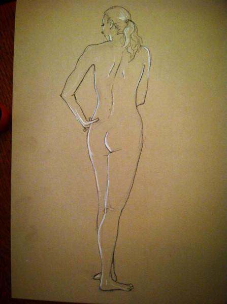 Sketch by silverAJ - naked flamenco dancer