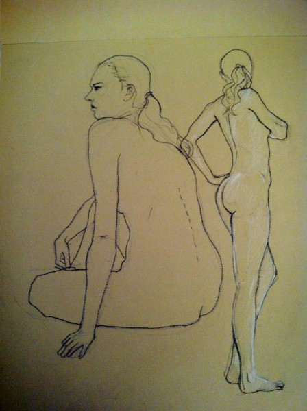 silverAJ drawing of naked dancers