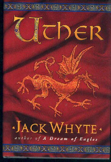 cover of Uther: red, with golden stylized lion stitched on red cloth, text in uncial lettering