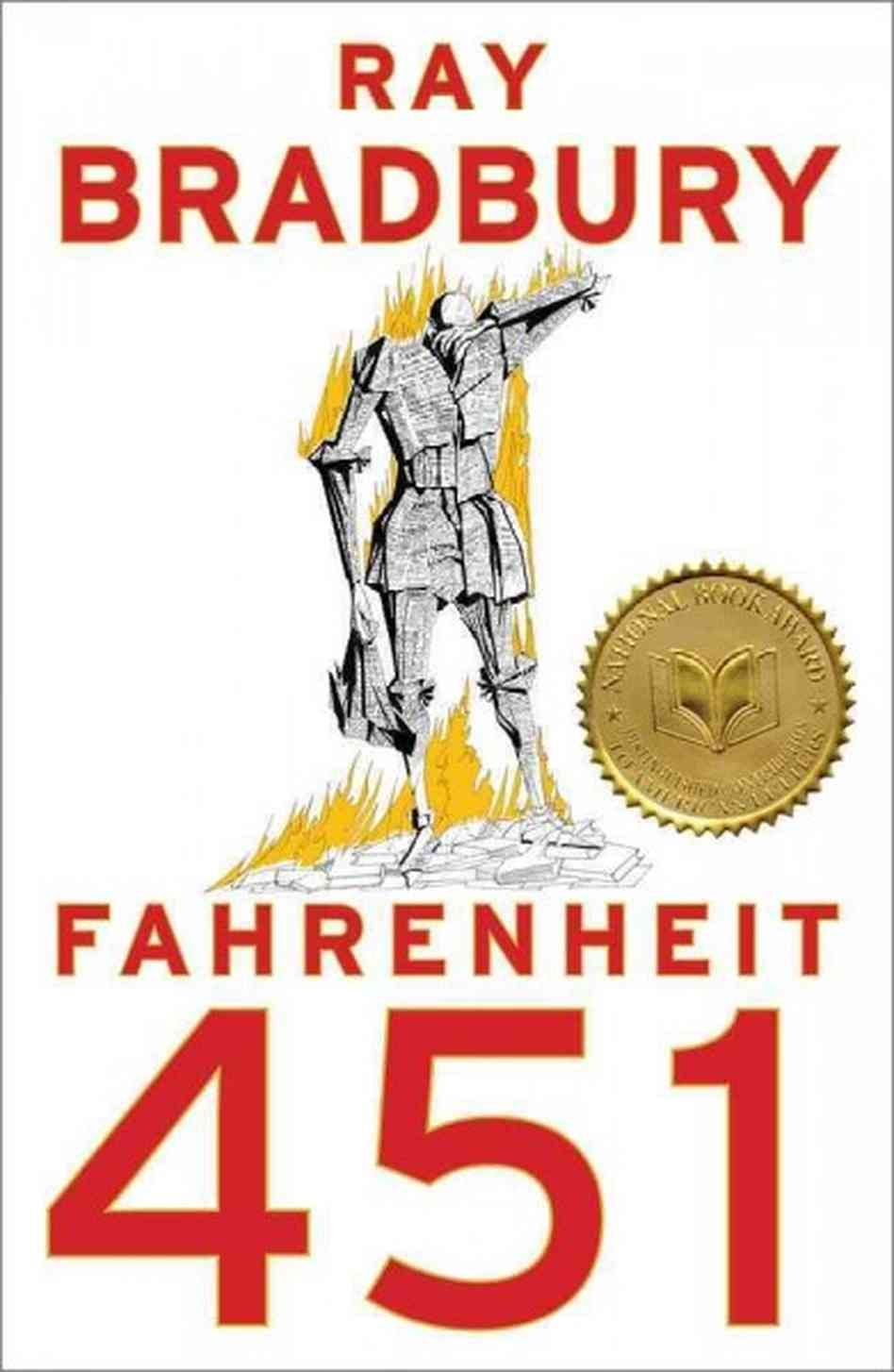 cover of Fahrenheit 451, a man made of printed-on paper in flames