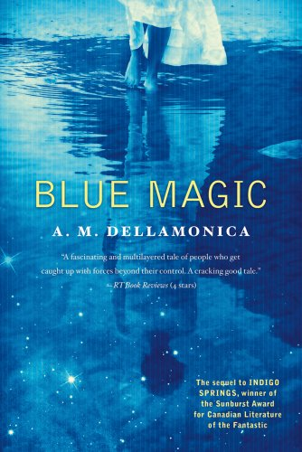 Cover of 'Blue Magic', girl in a white dress reflected in water, all in blue