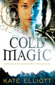 cover of Cold Magic, a girl's face lit by blue and orange, background of gears and ice whorls and mountains