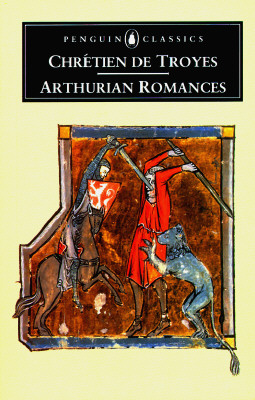 book cover, with medieval art: two men fighting with lion on one side, one man has stuck his sword literally in the face of the other
