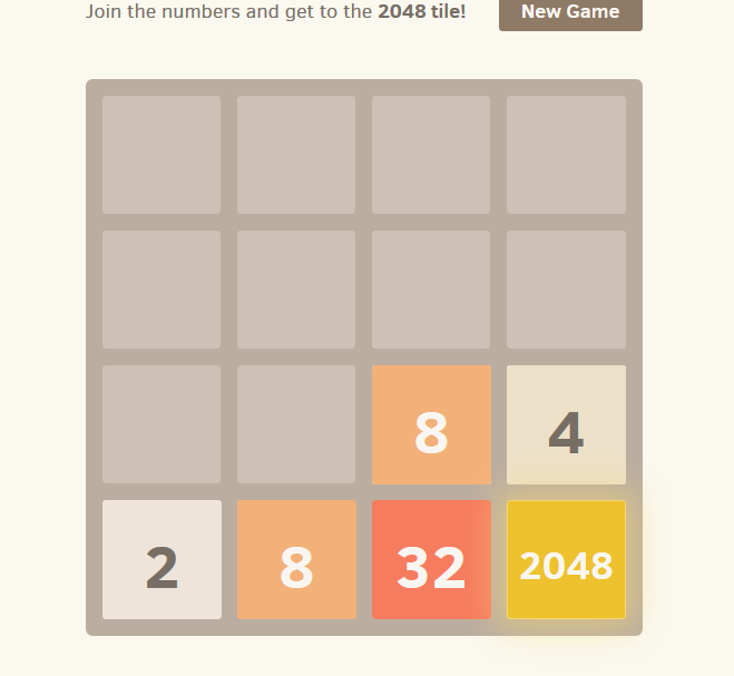 screenshot of 2048 tile game, with only a few tiles in bottom right corner arranged by size
