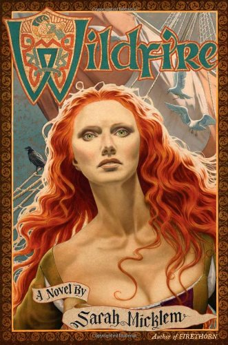cover of Firethorn, a woman with red hair and haunted green eyes looking up