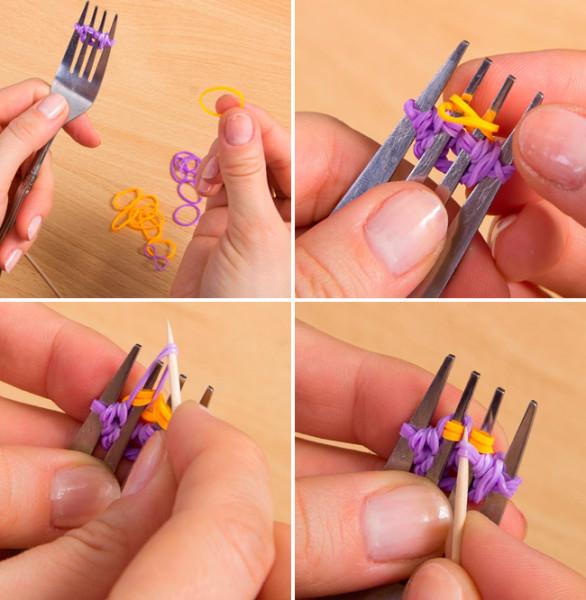 Браслет из резинок на вилке схема с картинками 8