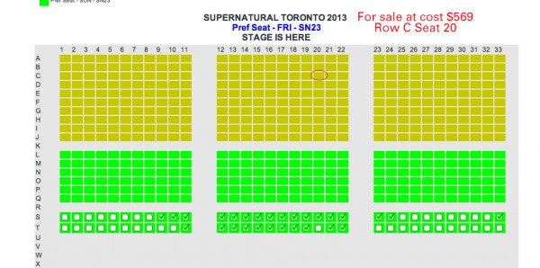 SPN TorCon 2013 Seat for Sale